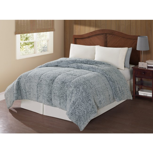 Carved Mink Animal Print Comforter Set-Silver